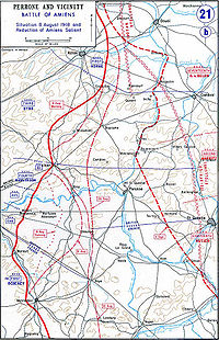Map depicting the advance of the Allied line