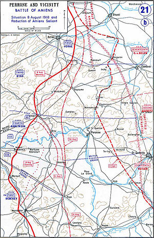 Battle of Amiens (1918) - Map depicting the advance of the Allied line
