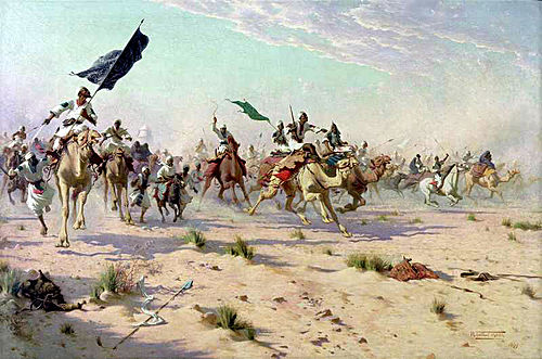 The flight of the Khalifa after his defeat at the Battle of Omdurman. Battle of Omdurman-1.JPG