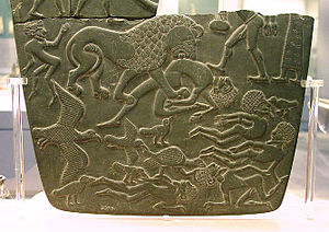 Battlefield Palette - Lower fragment, obverse, (28 x 20 cm), in the British Museum.