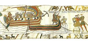 Danes (Germanic tribe) - Viking ships on the Normandy coast. Scene from the Bayeux tapestry.