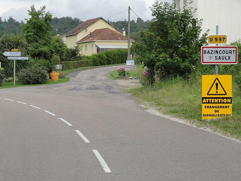 Bazincourt-sur-Saulx (Meuse) city limit sign