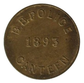Glossary of numismatics - A rare and historic Bechuanaland Border Police canteen token.