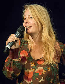 Beata Gårdeler under presentationen av filmen Flocken i Filmhuset i Stockholm 2015.