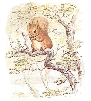 A drawing of a squirrel sitting on a tree branch holding a nut.