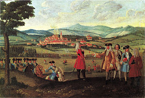 Toggenburg War - The bombardment of Wil on 21 May 1712 by Zürcher and Bernese artillery.