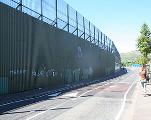 Peace lines - The peace line along Cupar Way in Belfast, seen from the Protestant side