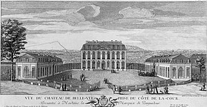 Château de Bellevue - The Château de Bellevue, in the time of Madame de Pompadour, from the courtyard to the west.