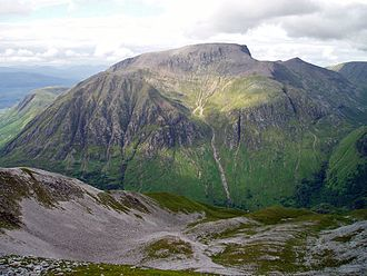 Mountains and hills of Scotland - The steep south face of Ben Nevis from Sgurr a' Mhàim