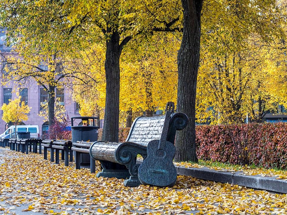 Benches in Vilnius during autumn