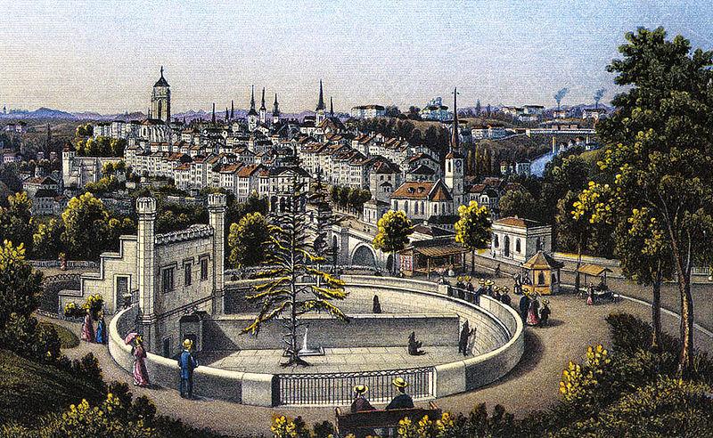 קובץ:Bern, view of the Bärengraben and the Old Town, around 1880.jpg