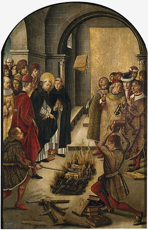 Catharism - This portrays the story of a disputation between Saint Dominic and the Cathars (Albigensians), in which the books of both were thrown on a fire and St Dominic's books were miraculously preserved from the flames. Painting by Pedro Berruguete