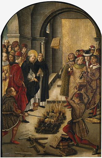 Disputation - c. 1208. This 15th-century painting by Pedro Berruguete depicts the legend of Saint Dominic and his Albigensian disputant tossing their books into a fire. Saint Dominic's books miraculously leapt out of the fire.