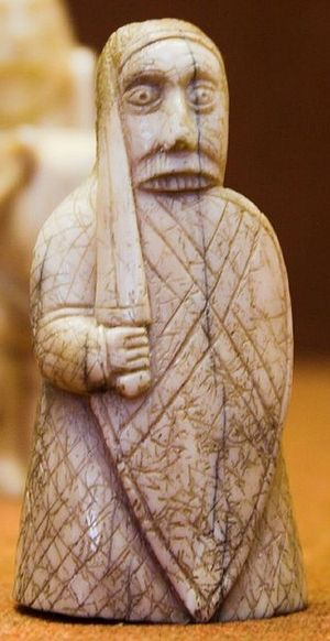 "Lewis chessmen - ""Berserker"" warder (rook), in the British Museum"