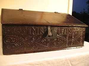 Bible box - English slope-lidded Bible box 1718