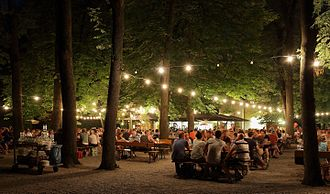 Beer garden - A biergarten at night