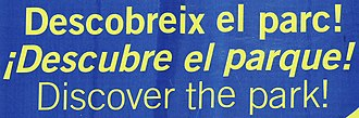 Exclamation mark - Trilingual billboard in Barcelona (detail), showing the initial exclamation mark for Spanish, but not for Catalan (top line) and English.