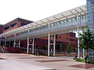"Klaus Advanced Computing Building - The ""Binary Bridge,"" so called because of the 1s and 0s on the glass. It is a pedestrian bridge that links the third floor of the Klaus building to the College of  Computing Building."