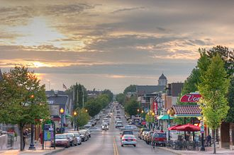 Bloomington, Indiana - Kirkwood Avenue looking toward downtown