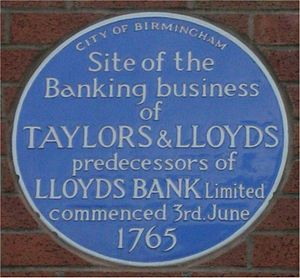 Sampson Lloyd - Blue plaque on the site of Birmingham's first bank in Dale End