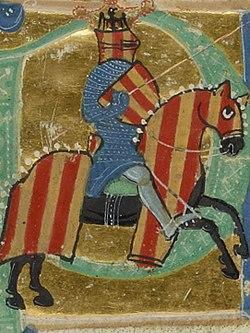 Alphonse II d'Aragon dit el Cast (le Chaste) ou le Troubadour, miniature du chansonnier provençal, XIIIe siècle
