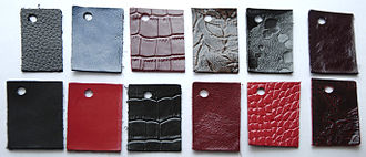 Bonded leather - An array of bonded leather swatches, in various colors and patterns.