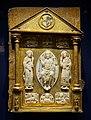 Book cover with evangelists, Köln, ivory from 1150-1175, surround c. 1580, walrus tooth, gilt copper, enamel - Hessisches Landesmuseum Darmstadt - Darmstadt, Germany - DSC00257.jpg