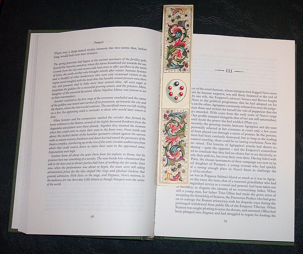 Book with florentine paper bookmark