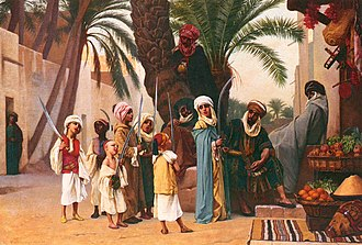 Scimitar - Arabs with scimitars from Boulanger's painting A Tale of 1001 Nights