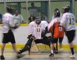 Box lacrosse - A box lacrosse goaltender