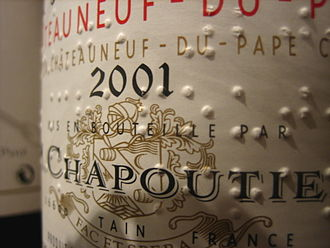 A bottle of Chapoutier wine, with braille on the label Braille wine label.jpg