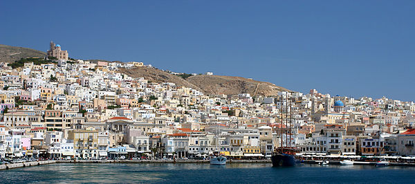 Hermoupolis, on the island of Syros, is the capital of the Cyclades. Brainsik-ermoupoli.jpg