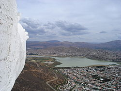 Alalay Lake and Cochabamba as seen from Cristo de la Concordia