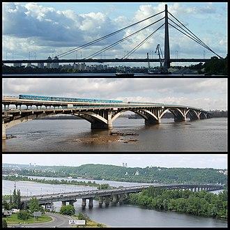Bridges in Kiev - Some bridges in Kiev (top to bottom): Pivnichnyi Bridge, Metro Bridge, Paton Bridge.