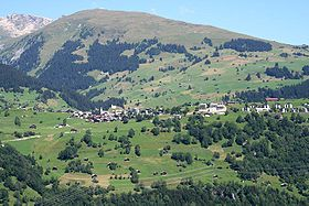 Vue du village de Brigels.