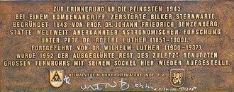 Düsseldorf-Bilk Observatory - Image: Bst schild