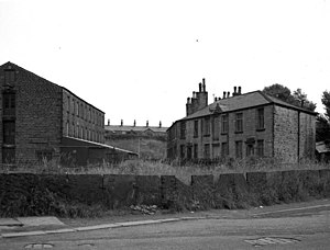 Buckley, Greater Manchester - Buckley Mill (right), seen here in 1968, was part of a Victorian era factory complex in Buckley.