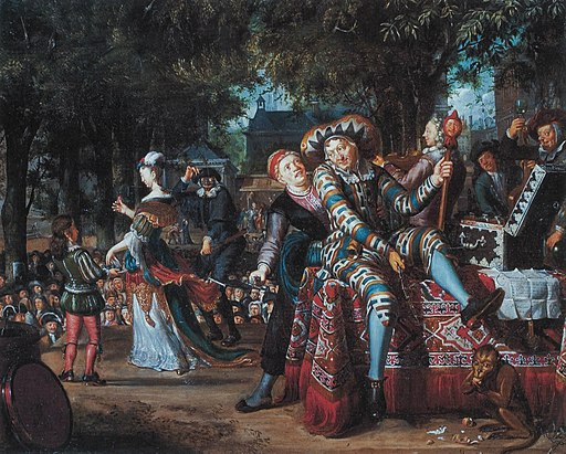 Buffoons in a play in open air, by Matthijs Naiveu