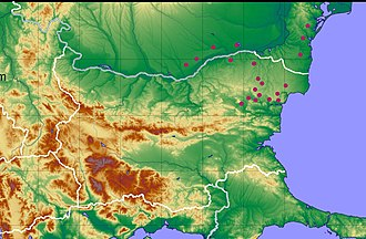 Bulgars - Map of the Bulgar necropolises on the Lower Danube (8-9AD.)