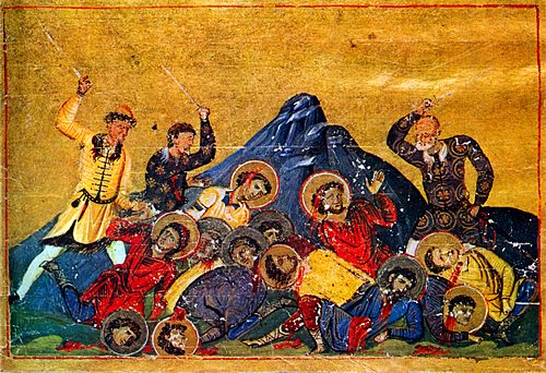 Bulgar soldiers slaughter Christians, from the Menologion of Basil II, 10th century. Bulgars.jpg