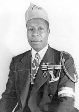 Eugene Bullard - Eugene in his later years, wearing on his shoulder the croix de guerre Fourragère, 170th Regiment distinction, and the cap of French war veterans.