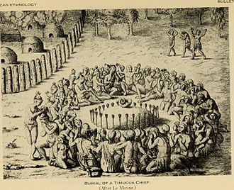 Mound Builders - Engraving after Jacques le Moyne, showing the burial of a Timucua chief