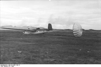 """Operation Herkules - German DFS 230 assault gliders slated for Herkules were equipped with braking (or """"crane"""") parachutes. These shortened the aircraft's landing run and allowed for more precise placement near an objective."""
