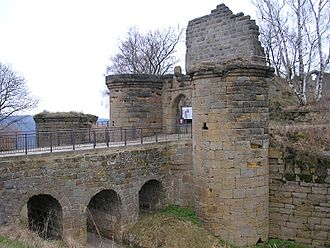 Altenstein Castle (Lower Franconia) - Bridge, gate and bergfried