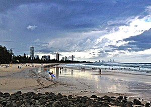 Burleigh Heads, Queensland - A beach in Burleigh Heads with high rise developments further in the background