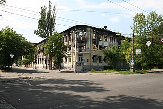 Battle of Mariupol (May–June 2014) - The police headquarters in Mariupol, destroyed in the fighting of May 2014.