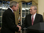 Bush and Rumsfeld shakes hands, November 8, 2006