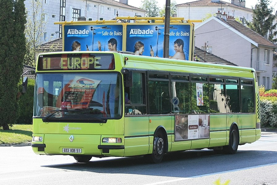 Agora S du réseau CITURA. Ligne 1 > REIMS EUROPE à STADE DE MUIRE