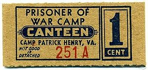 Camp Patrick Henry - CPH POW Canteen Coupon