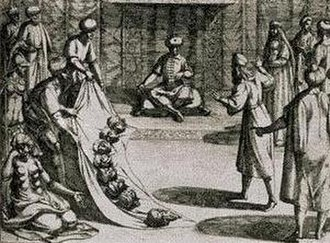 Cantar de los Siete Infantes de Lara - Almanzor shows the heads of the seven infantes, plus that of a faithful retainer, to their father Gonzalo Gustioz. Engraving by Otto Venius, seventeenth century.